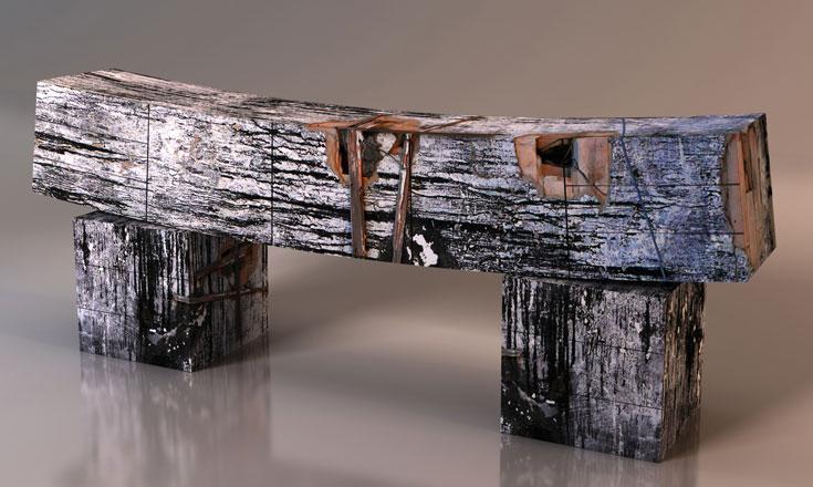 ספסל Bark. יחידת אחסון שנראית כמו ספסל (באדיבות גלריה ברוורמן)