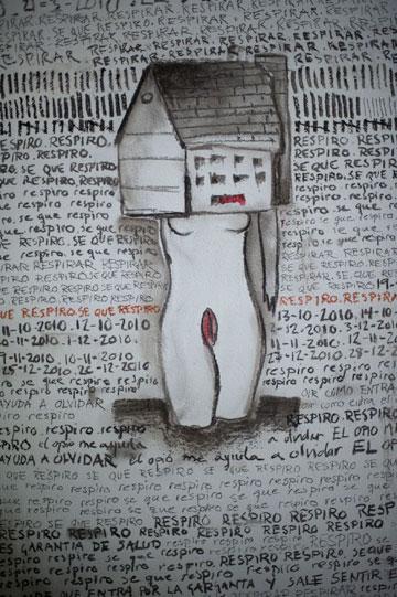 קיר הגרפיטי שהאסירה כותבת באובססיה: ''האופיום עוזר לי לשכוח'', ''אני יודעת שאני נושמת'' (באדיבות קולנוע לב)