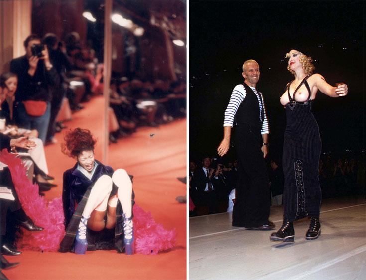 מדונה חושפת שדיים בתצוגת האופנה של ז'אן פול גוטייה (מימין) ונעמי קמפבל נופלת בתצוגת האופנה של ויויאן ווסטווד (צילום: rex / asap creative)