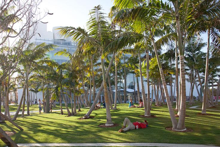 פארק אורבני במיאמי ביץ שנחנך השנה'. אווירה טרופית משולבת בחיים העירוניים, ביום ובלילה, ותומכת במרכז התרבות והאמנות הסמוך לו (צילום: West 8 urban design & landscape architecture)