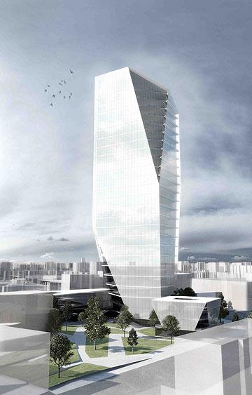 בניין העירייה שמציעים קימל אשכולות, עם קלוש צ'צ'יק (הדמיה: k.p studio)