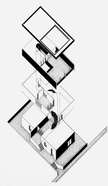 שלא כמו ברוב בנייני התקופה, ההתפתחות האנכית נקבעת כרצף של שורת חללים, מהכניסה, אל המבואה, ומשם אל החצר המופנמת והלאה אל גינת הגג (באדיבות עלייה אייברי ודן פרייס)