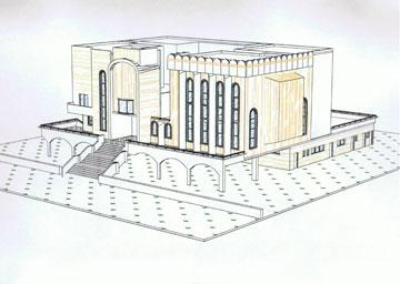 רישום של מרצבך: בית הכנסת בביתר עלית (רישום: מתוך עיזבון אדריכל דן מרצבך ז''ל)