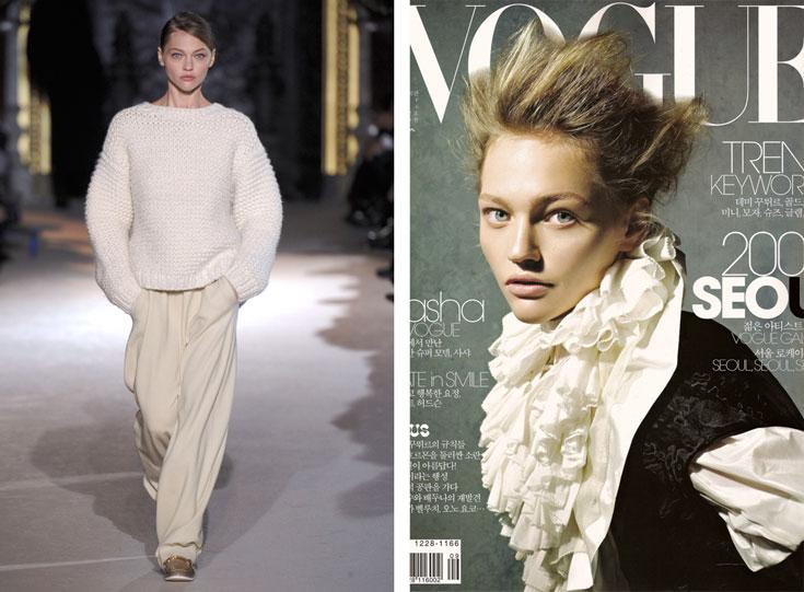 סשה פיבוברובה על שער מגזין ווג קוריאה ובתצוגת האופנה של סטלה מקרטני לסתיו-חורף 2011-12. דוגמנית, ציירת, ועכשיו גם מעצבת ושחקנית