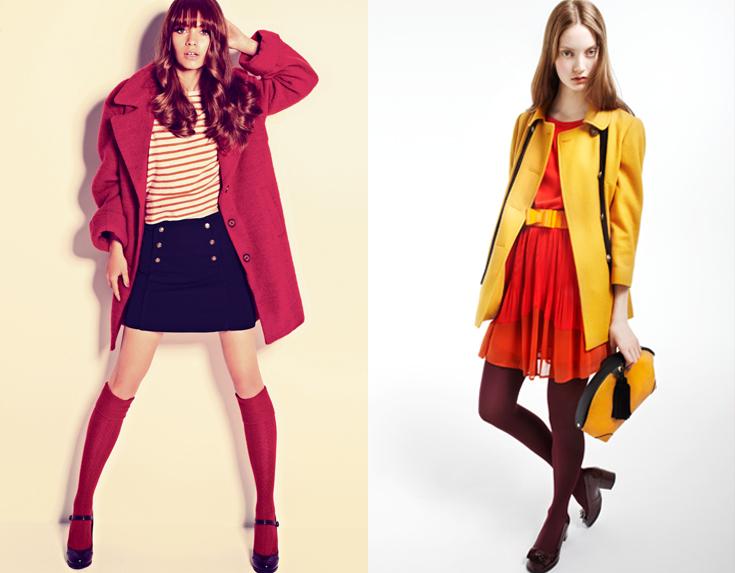 מעילים של טופשופ (מימין) ופול אנד בר. שלל צבעים, גזרות ומחירים