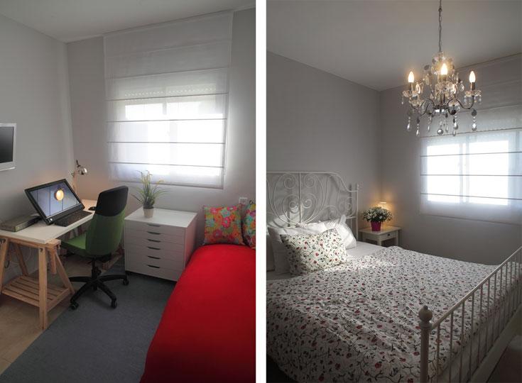 בחדר העבודה (משמאל): הפוף האדום הגדול מ''מילגה'', שטיח מ''שטיחי איתמר'', כריות נוי פרחוניות מ-''IDdesign''. בחדר השינה (מימין): הנברשת, כמו אחותה שבחדר הילדות, נקנו בעבר ב''הום סנטר''. כל היתר מ''איקאה'' (צילום: אמית הרמן)