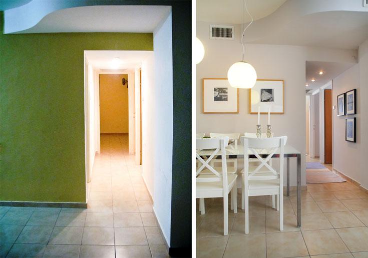 פינת האוכל והמסדרון ''לפני'' (משמאל), ואחרי (צילום: גילי אונגר, אמית הרמן)