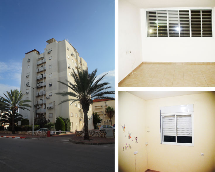 משמאל: הבניין בקרית מוצקין. מימין: הסלון (למעלה) וחדר הילדות, ''לפני''. 45 אלף שקלים לשיפוץ, ריהוט, תאורה ומכשירי חשמל (צילום: גילי אונגר, אמית הרמן)