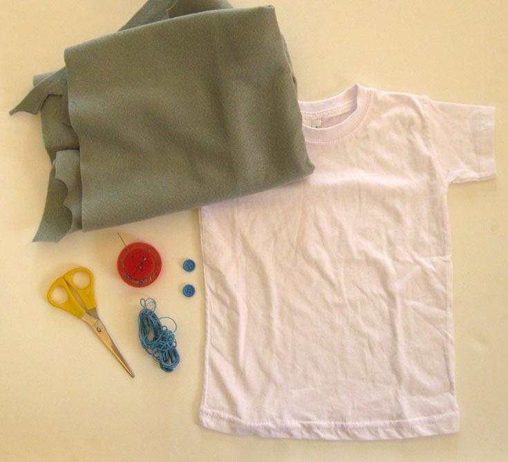 החומרים הדרושים להכנת חולצת הפיל (צילום: חן קרופניק )