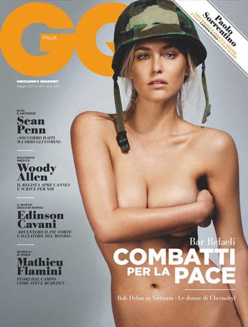 רפאלי על שער מגזין GQ. הקסדה הצבאית הרגיזה לא מעט אנשים