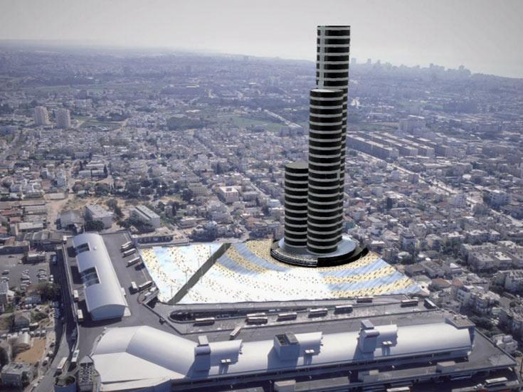 הדמיה של הרעיון של גודוביץ: מגרש בבעלות העירייה מאחורי התחנה המרכזית החדשה, ''ושם אפשר להקים למעלה מאלף דירות במגדלים'' (הדמיה: אדריכל ישראל גודוביץ )
