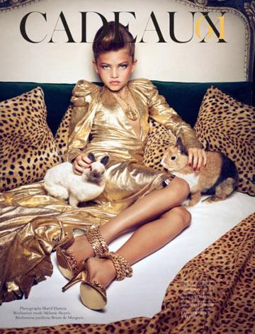 תיילן בלונדו בת ה-10 בהפקת האופנה השערורייתית בווג פריז