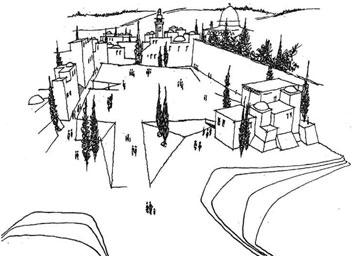 ההצעה של סעדיה מנדל (באדיבות ארכיון אדריכלות ישראל)