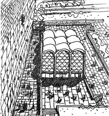 בית הכנסת שהציע אברהם יסקי ברחבת הכותל (באדיבות ארכיון אדריכלות ישראל)