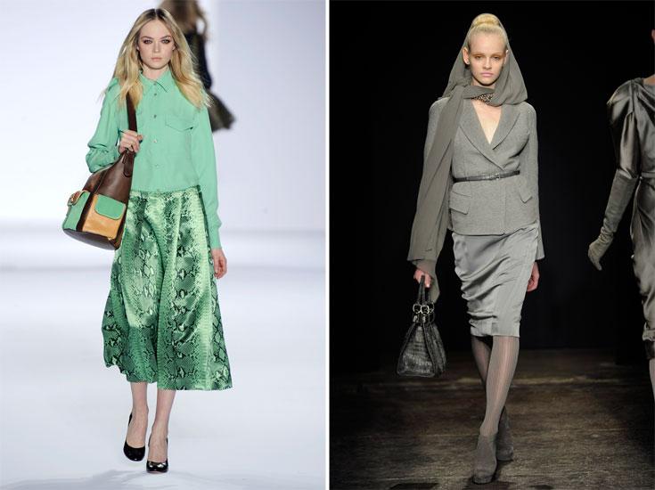 מימין: חצאית מידי אפורה וצרה בתצוגת האופנה של דונה קארן, משמאל: חצאית מידי מתנפנפת בתצוגת האופנה של קלואה. פריט חובה בכל ארון (צילום: gettyimages)