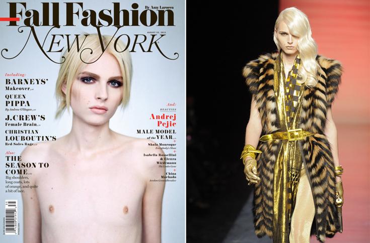 אנדריי פייץ בתצוגת אופנת הגברים של ז'אן פול גוטייה לחורף (מימין) ועל שער ניו יורק מגזין. מסמל את המראה העכשווי האהוב על תעשיית האופנה