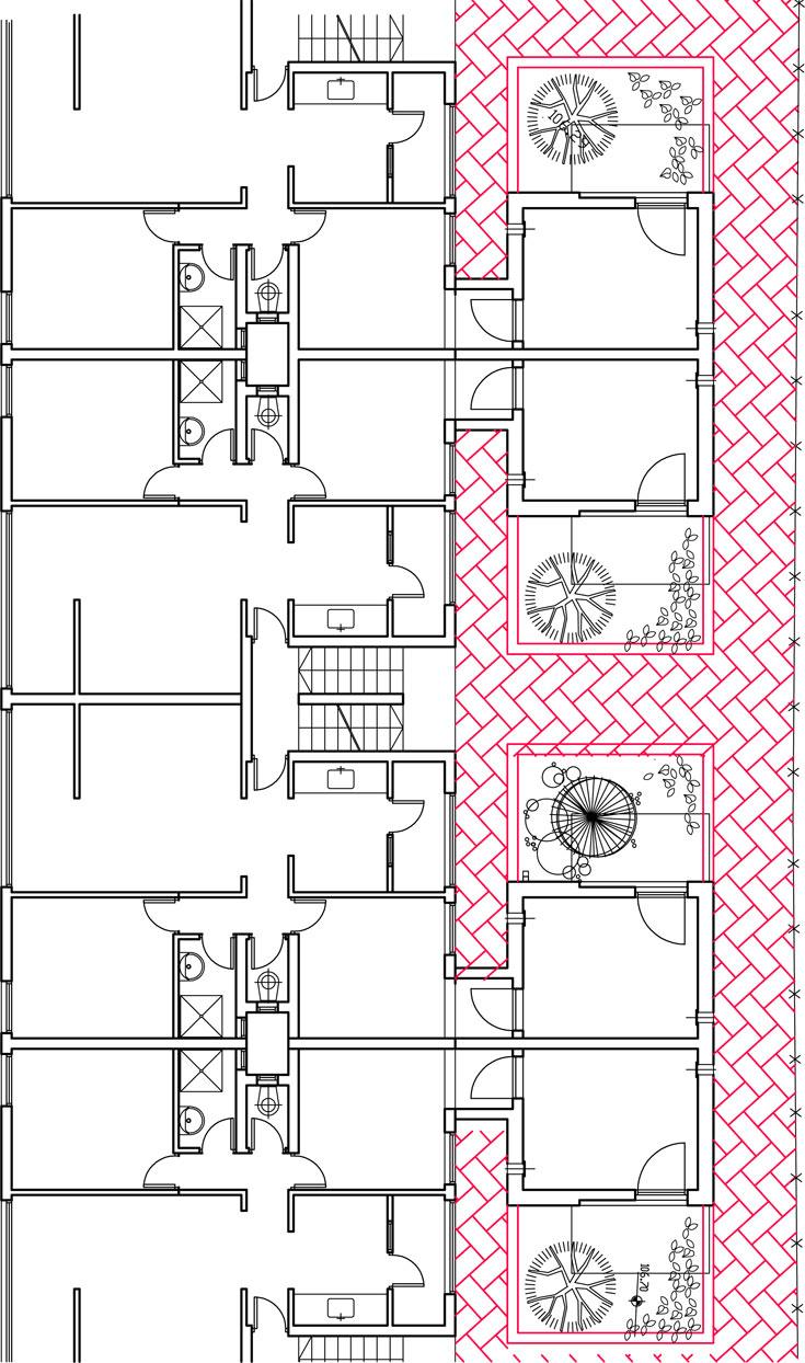 תוכנית הבנייה של ממ''ד (המסומן באדום). היתרון: הגדלה משמעותית של שטח הדירה הישנה (צילום: טולו אמיתי)