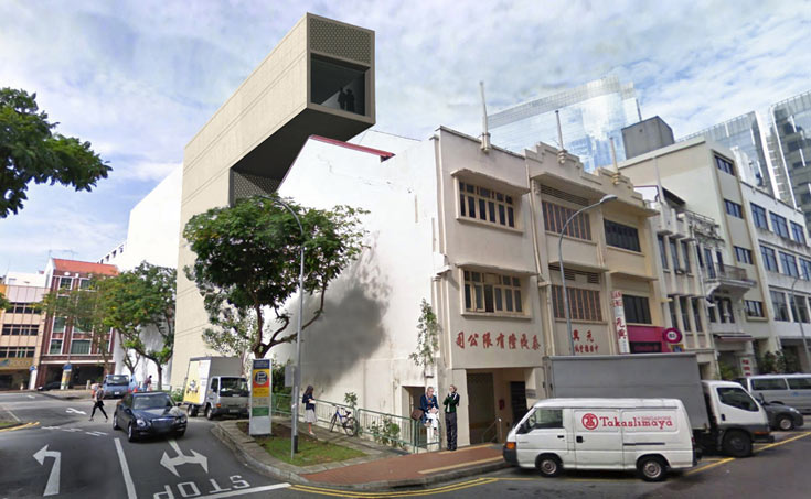 הפריסקופ בסינגפור. אדריכלים: VW+BS. זיז ארוך בצורת ר' חולש על הבניינים הסמוכים (הדמיה:  VW+BS)
