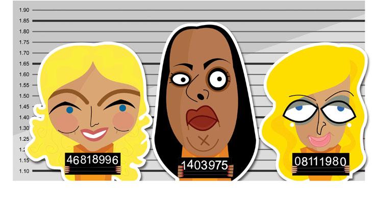 משמאל לימין: לינדזי לוהאן, מרגול ופריס הילטון (איור: רן קר-פה)