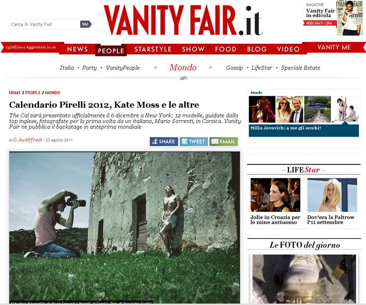 אתר וניטי פייר האיטלקי חושף את התמונות מצילומיה של קייט מוס ללוח השנה של פירלי. טופלס זה דבר שבשגרה