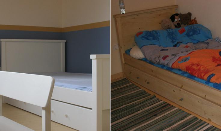 מימין: מיטת הילדים לפני הצביעה - אין הרמוניה ואין אסתטיקה. משמאל: לאחר הצביעה הפשוטה (צילום: הגר יואלי)