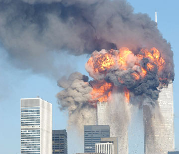 מגדלי התאומים בוערים. 11 בספטמבר 2001 (צילום: gettyimages)