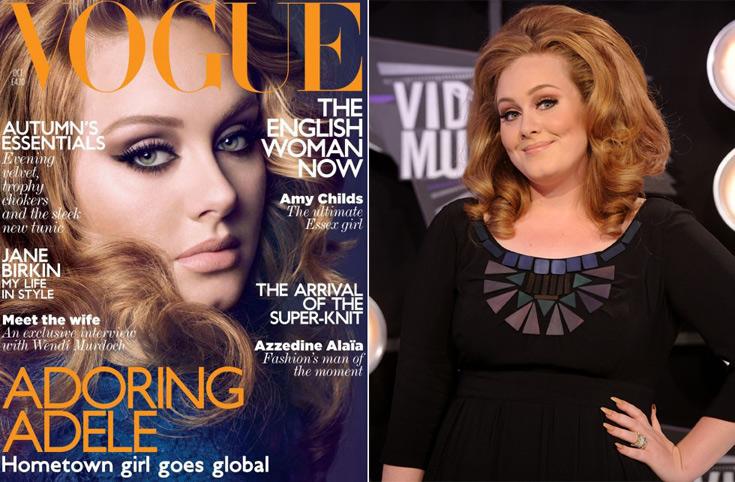 אדל בטקס פרסי MTV (מימין) ועל שער גיליון אוקטובר של ווג הבריטי. מידות הגוף הנדיבות הן אנטיתזה לקו של אחד ממגזיני האופנה המשפיעים בעולם