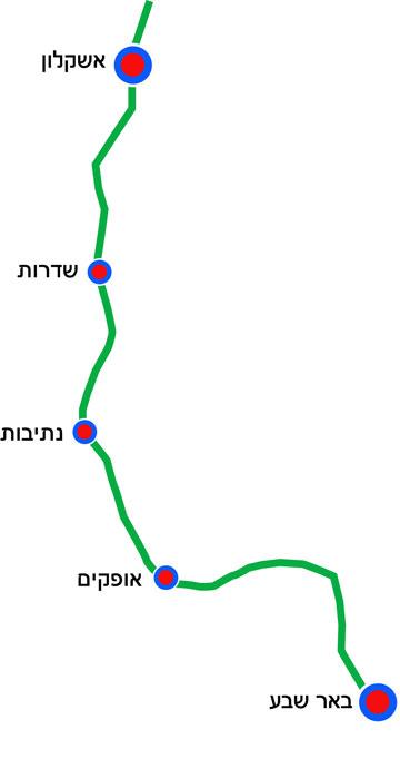 תרשים קו הרכבת מאשקלון לבאר שבע. מחברים את מערב הנגב