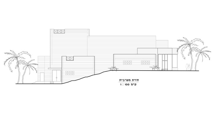 הדמיית החזית המערבית. דבר האדריכל: ''מבנה מפורק לקומפוזיציה של גושים מחופים אבן, גולש על שיפוע ההר הטבעי''