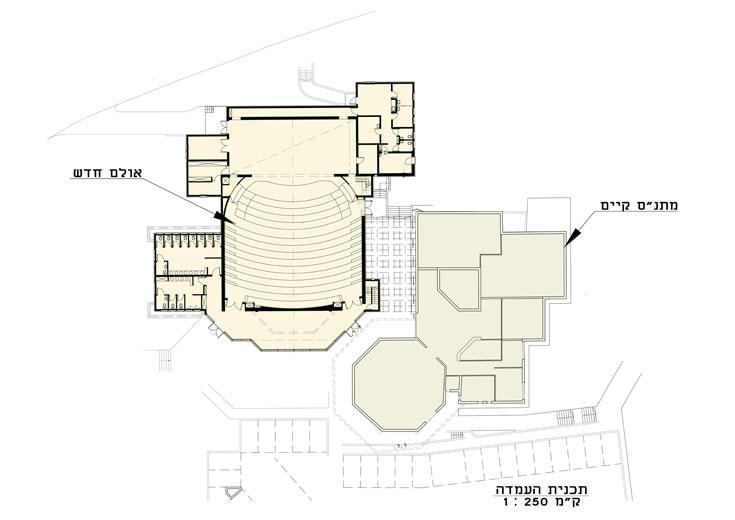 """תוכנית כללית של היכל התרבות הצמוד למתנ""""ס. '''מדבר' ממש באינטימיות עם הבניין של אבא אלחנני'', אומר האדריכל"""