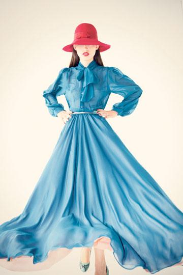 שמלת מקסי מתוך קולקציית חורף 2012-2011 (צילום: ראובן כהן)