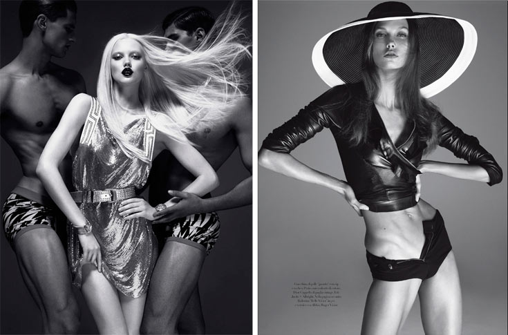 קרלי קלוס בצילום של סטיבן מייזל בווג איטליה (מימין) והקולקציה של ורסאצ'ה ל-H&M. הגיבור הוא זה שכובש את יצרו
