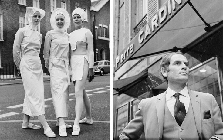 פייר קרדן (מימין) ובגדי אחיות שעיצב בסגנון עתידני. ''היכל הספר תפס במדויק את רוח הזמן הבינלאומית'', אומר האדריכל צבי אלחייני (צילום: gettyimages)